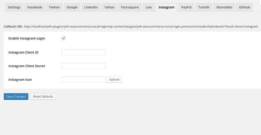 YITH Social Login: Instagram configuration settings