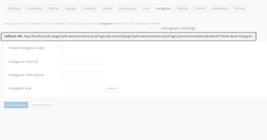 YITH Social Login: Instagram configuration settings