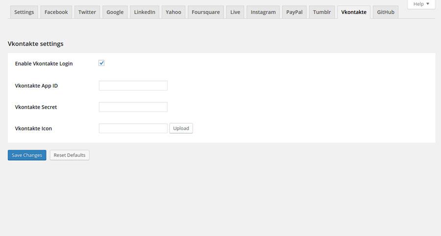 Vkontackte plugin settings