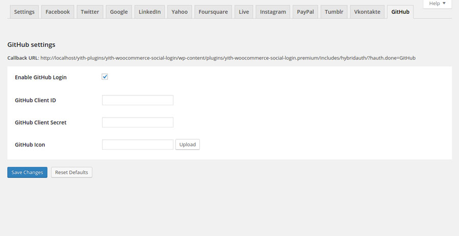 GitHub plugin settings