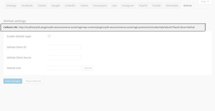GitHub - Callback Url