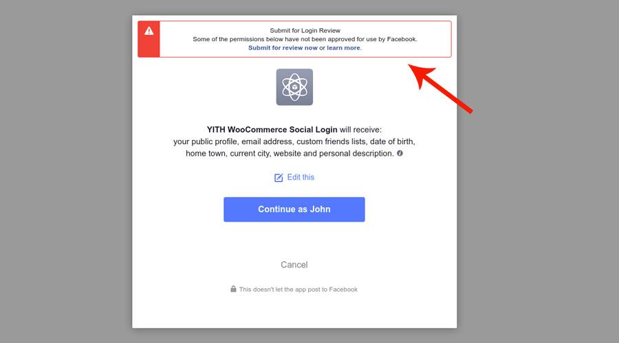 Alert facebook social login