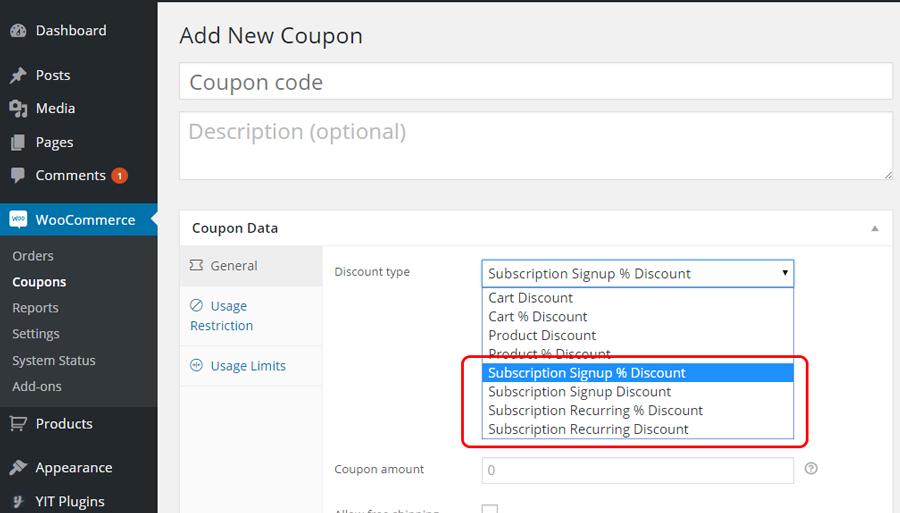 Configure coupon