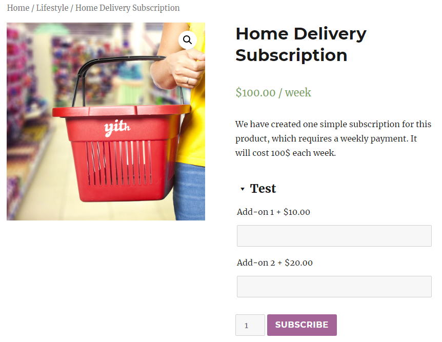 addons subscription frontend