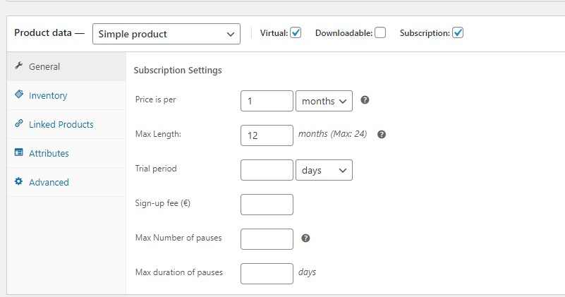 Donation with subscription settings