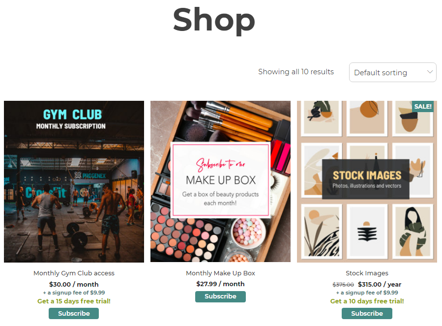 Shop page example