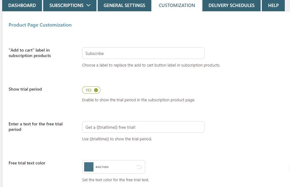 Subscription customization tab
