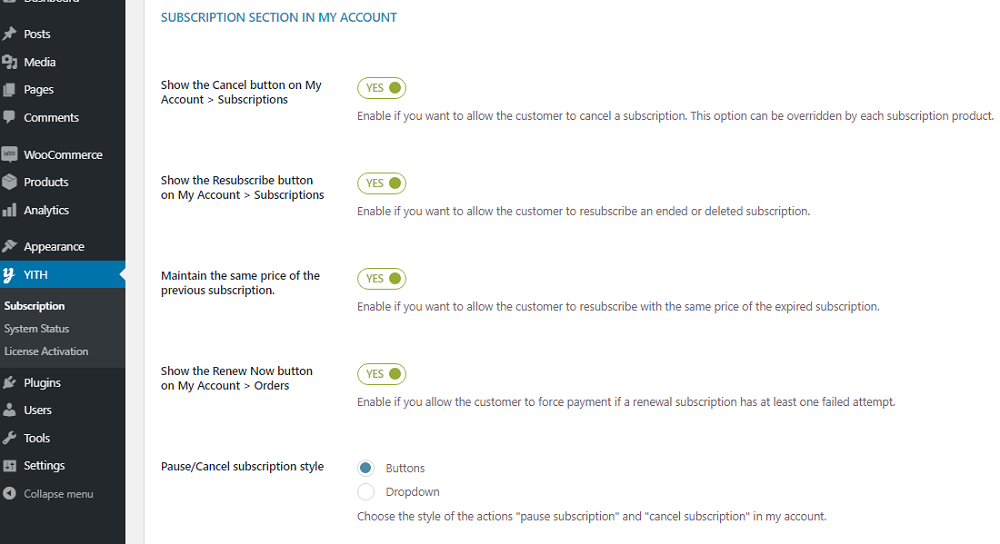 Subscription section customization