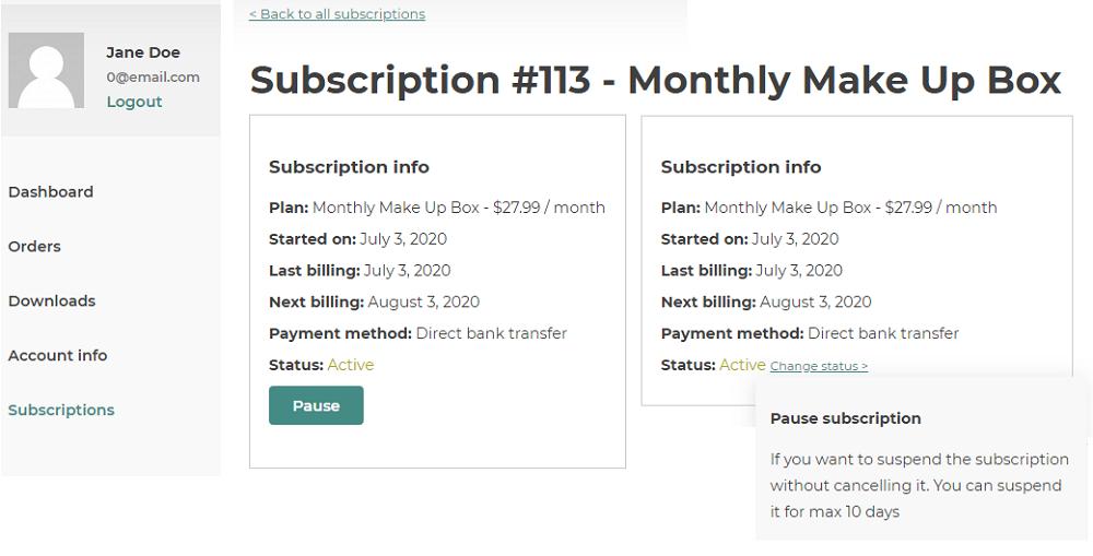 pauze subscription