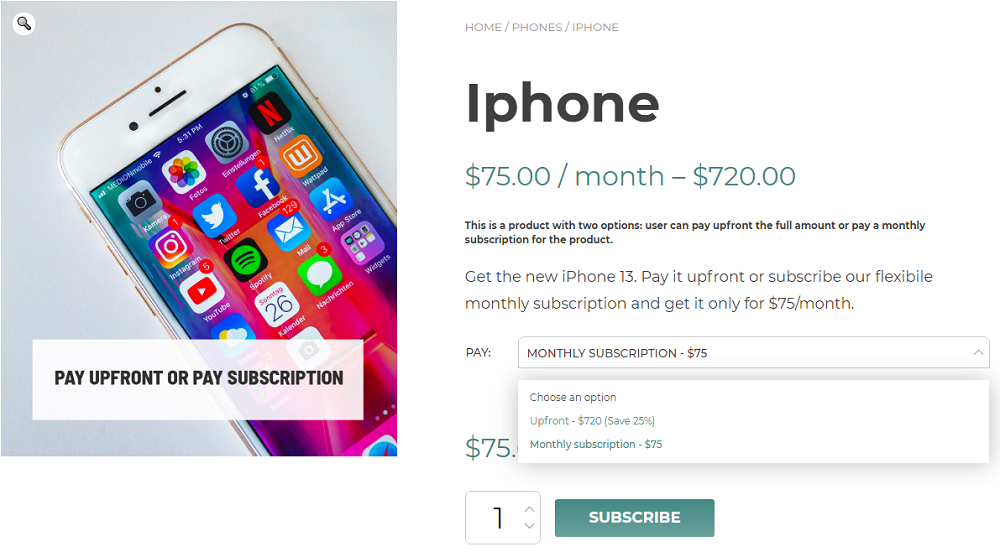 variable subscription example