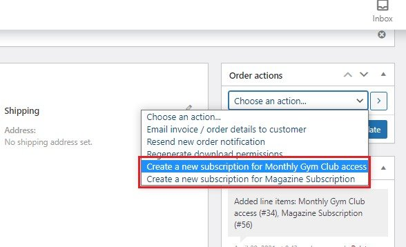 Order actions to create new subscriptions