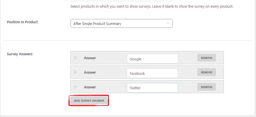 survey answers