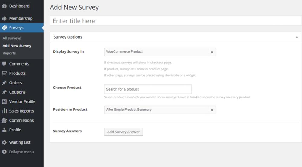 Add new survey
