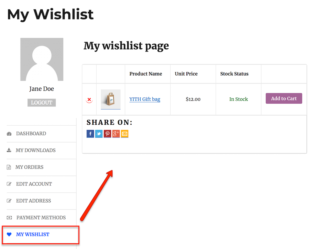 wishlist endpoints frontend