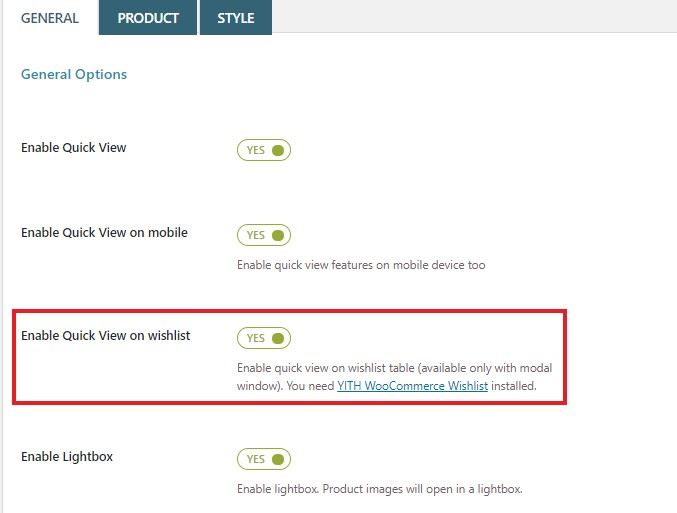 How to enable Quick View on wishlists